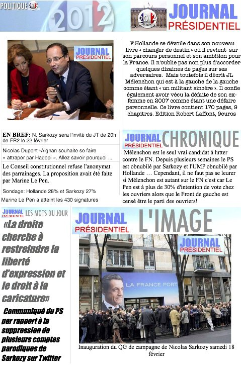 JOURNAL PRESIDENTIEL: 22 F�vrier 2012
