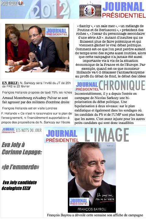 JOURNAL PRESIDENTIEL: 29 F�vrier 2012