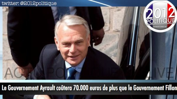 Le Gouvernement Ayrault cotera 70 000euros de plus que le gouvernement Fillon 