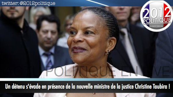 Un dtenu s'vade en prsence de la nouvelle ministre de la justice Christine Taubira !
